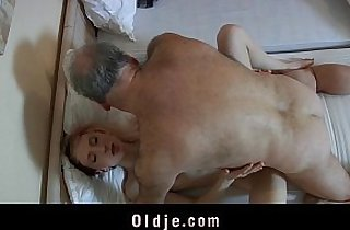 bedroom, blonde, blowjob, horny, old-young, leaking, skinny fucked, slim