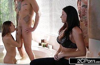 3some fuck, black  porn, blowjob, brunette, tits, xxx couple, daughters, double